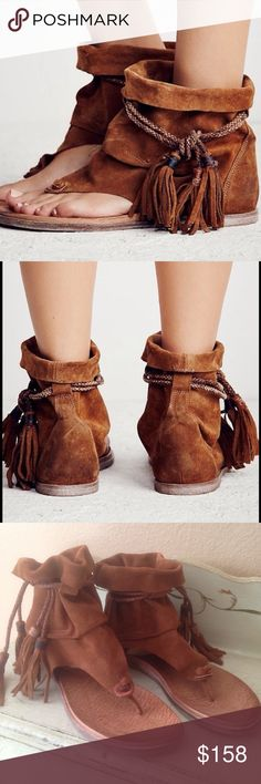 FREE PEOPLE  Marlo Boot Sandal Tribal inspired boot sandals featuring rope fringe detailing and open toe design. So soft suede shaft creates a worn in aesthetic. Worn once. Mint condition. Size 8. ❤️ if you love Free People check out my closet. I have over 300 Free People items available ❤️ Bundle discounts and discounted shipping ❤️ I love offers!! Free People Shoes Ankle Boots & Booties