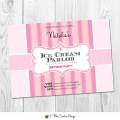 Ice Cream Parlor Birthday Party Collection.  DIY Printable Birthday Invitation with Ice Cream Party Theme - PINK Stripe Design  Old fashioned  traditional Ice Cream Parlor style invitation.