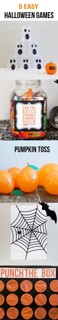 5 EASY Kids Halloween Games including ghost bowling, candy guess game, pumpkin toss, punch a box and pin the spider […] Halloween Tags, Halloween Games For Kids, Halloween Class Party, Halloween Birthday, Halloween Activities, Holidays Halloween, Halloween Themes, Halloween Crafts, Halloween Baking