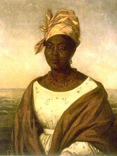 (oil painting) Free black woman, Louisiana 18th century, wearing a tignon/chignon