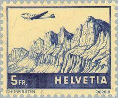 Stamp: Churfirsten (Switzerland) (Aircraft over landscape) Mi:CH 394,Yt:CH PA34,Zum:CH F34