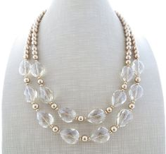 Golden statement necklace clear crystal necklace by Sofiasbijoux