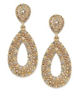Charter Club Earrings, 14k Gold-Plated Glass Stone Teardrop Earrings - Fashion Jewelry - Jewelry & Watches - Macy's