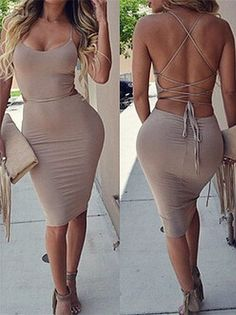 Spaghetti Strap Sleeveless Lace-Up Taupe Dress