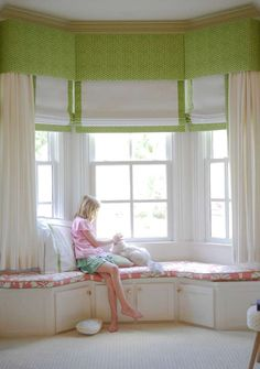 flat roman shades Archives - Page 3 of 8 - The Shade Store Bay Window Bedroom, Bay Window Curtains, Window Seats, Federal Style House, Girls Room Curtains, Barbie Room, Custom Window Treatments, Marquise, Custom Windows