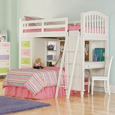 Kids Room. Cool Kid Beds Decorating Ideas For Girls And Boys. Girls Bunk Beds With Desk Furniture With Most Innovative Kids Bunk Bed Designs And White Wooden Desk Plus Image Together With Full Color Blanket Painting As Well As White Wooden Chair Plus Purple Furry Rug Also Brown Wooden Floor Painting