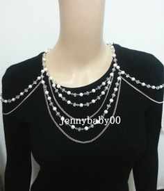 New Pearl Body Chain Jewelry Body Shoulder Chain Harness Necklace Wedding Bridal #Chain