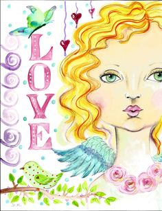 INSTANT DOWNLOAD ART Angel christian wings love
