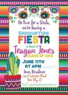 Printable Fiesta Invitation, 5 De Mayo, Mexican Birthday Party Invitation plus FREE blank matching p . Mexican Birthday Parties, Mexican Fiesta Party, Fiesta Theme Party, Invitation Fete, Digital Invitations, Printable Invitations, Printables, Invitation Templates, Shower Invitation