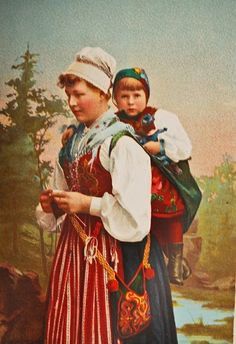 I actually have pics of my grandmom, my mom, myself, Hannah and Katie all in them. Sweden Costume, Swedish Women, Art Du Fil, Knit Art, Scandinavian Folk Art, Swedish Style, Vintage Knitting, Baby Wearing, Belle Photo