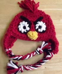 Crocheted Hat, Red Angry Bird