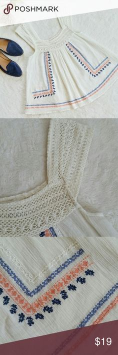 """Billabong Embroidered Crochet Boho Top Billabong Embroidered Top with Crochet Neckline and Sleeves. Size small. Pit to pit is 15"""" flat and shoulder to hem is about 24.5"""". Like new condition. Never worn and washed once to freshen up. Billabong Tops"""