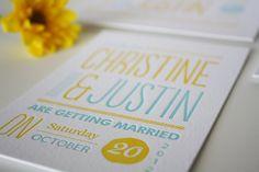 Modern Wedding Invitation Unique Letterpress by Honizukle on Etsy