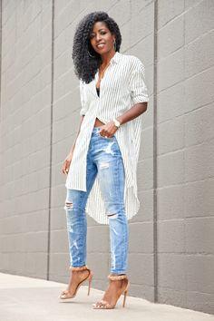 529e6e43df Safari Inspired Boyfriend Shirt x Ripped White Jeans