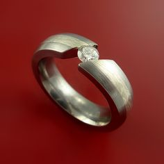 Titanium and Mokume Gane Ring with Moissanite Tension Setting Band Made to any size