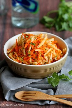 Jicama & Carrot Slaw Recipe with Honey-Lime Dressing | cookncanuck.com #vegan #vegetarian #recipe #CincodeMayo