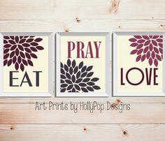 Modern Kitchen Wall Decor-Eat Pray Love Trio Print Set-3 Prints-Inspirational Kitchen Dining Wall Decor-Purple Ivory Wall Art-Custom Colors on Etsy, $35.00