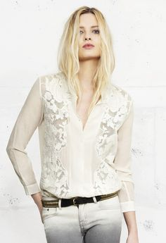 The Kooples; Fashion; Clothing; Lace Shirt; White; Cream.