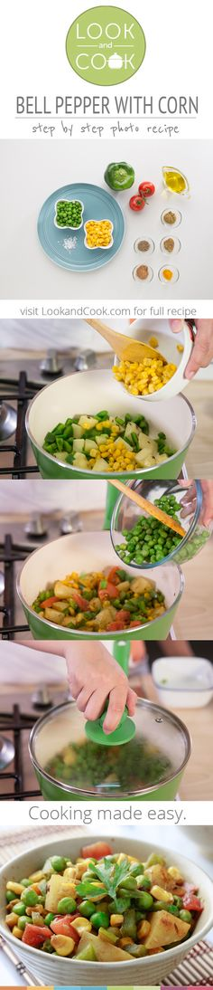 BELL PEPPER WITH CORN RECIPE Bell Pepper with Corn Recipe (#LC14133): Get step by step photo recipe at lookandcook.com