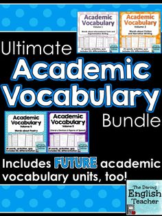 This academic vocabulary bundle includes ALL of the academic vocabulary units and any future units. Teaching high school. Teaching English. Teaching middle school. Teaching vocabulary. CCSS