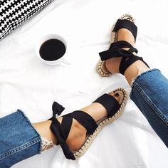 Sequins and Sales - Fashion + Lifestyle - Espadrilles - Sock Shoes, Cute Shoes, Me Too Shoes, Shoe Boots, Crazy Shoes, Flat Shoes, Black Sandals, Shoes Sandals, Espadrille Sandals