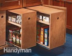 Build Organized Lower Cabinet Rollouts for Increased Kitchen Storage - in the new kitchen Kitchen Cabinet Storage, Low Cabinet, Kitchen Organization, Organizing, Cabinet Drawers, Kitchen Cabinets, Kitchen Drawers, Storage Cabinets, Cabinet Space