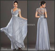 long formal evening dress elegant short sleeve illusion high back mother of the bride dresses gla027