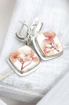 Wedding earrings Romantic earrings with real by KvitkaSonze #Uniqueearrings #sterlingearrings #weddingearrings