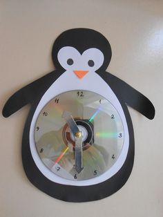 Clock project for school - Clock Craft, Diy Clock, Kindergarten Crafts, Preschool Activities, Diy For Kids, Crafts For Kids, Cd Crafts, Art Lessons Elementary, Animal Crafts