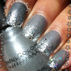 glitter gradient nail art, gray and silver nails, sinful colors