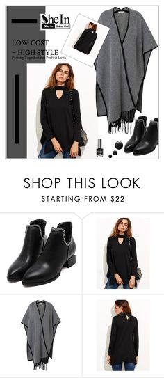 """Black Cutout Asymmetrical Swing T-shirt - Shein Contest"" by biange ❤ liked on Polyvore featuring L.K.Bennett"