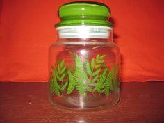 Vintage Clear / Green Fern Glass Storage Jars / Canister 5 inches in Home & Garden, Kitchen, Dining & Bar, Kitchen Storage & Organization   eBay