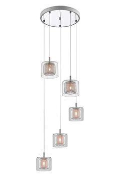 Impex PGH606101/05/CU/CH Laure Five Light Ceiling Pendant Cluster Light In Chrome And Copper from Lights 4 Living