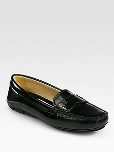 Prada Patent+Leather+Penny+Loafers