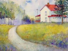"""""""Up The Road"""" - Original Fine Art for Sale - © Judy Mudd  at DailyPaintWorks.com  8.5x10.5"""""""