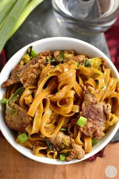 Mongolian Beef Noodle Bowls - Iowa Girl Eats - Gluten-Free Mongolian Beef Noodle Bowls taste just like take out, swapping rice for chewy rice nood - Asian Recipes, Beef Recipes, Cooking Recipes, Healthy Recipes, Asian Noodle Recipes, Cooking Ideas, Healthy Food, Beef Dishes, Lasagna