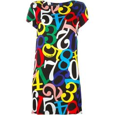LOVE MOSCHINO Numbers Print T-Shirt Dress (3.337.915 IDR) ❤ liked on Polyvore featuring dresses, print dresses, tee dress, tee shirt dress, pattern dress and t shirt dress