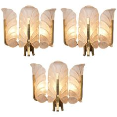 Set of 12 Wall Lights in Brass and Structured Glass | From a unique collection of antique and modern wall lights and sconces at https://www.1stdibs.com/furniture/lighting/sconces-wall-lights/
