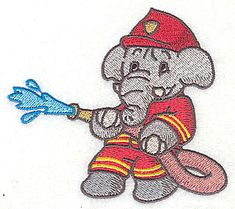 Embroidery Design: Elephant fireman fighting fire with hose small<br> X All Popular, Fire Hose, Machine Embroidery Patterns, Janome, Animal Design, Elephants, Pattern Design, Embellishments, Cartoon