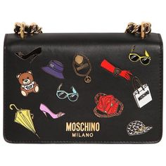 Moschino Women Iconic Pins Leather Shoulder Bag (84.545 RUB) ❤ liked on Polyvore featuring bags, handbags, shoulder bags, bolsas, black, genuine leather purse, shoulder hand bags, moschino handbags, chain handbags and chain purse
