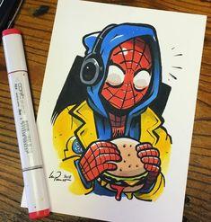 marvel drawings My boyfriend! Take Spiderman for l - marvel Spiderman Kunst, Spiderman Drawing, Spiderman Spiderman, Cool Art Drawings, Art Drawings Sketches, Cartoon Drawings, Drawing Ideas, Marker Kunst, Marker Art