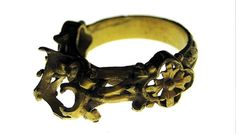 14th century medieval ring found in a field in Espoo, Finland. Probably of royal Swedish origin.