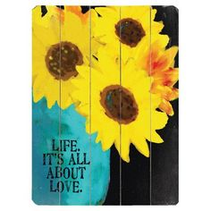 """Artehouse LLC 'All About Love' Print on Wood Size: 16"""" H x 12"""" W"""
