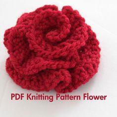 PATTERN - Knitted Flower PDF Pattern Very Easy Photo Tutorial. , via Etsy.