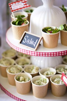 mini salad display for potato salad, coleslaw... paper cups!