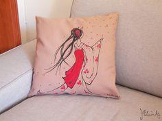 Japanese hand painted pillows series / Geisha throw pillow