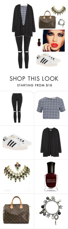 """""""23/03/2016"""" by nenupha ❤ liked on Polyvore featuring Topshop, Glamorous, adidas Originals, Acne Studios, Deborah Lippmann, Louis Vuitton, Betsey Johnson and Lime Crime"""