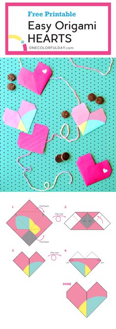 Origami Hearts for Valentine's Day – OneColorfulDay Free printable template for an easy origami heart that can double as a Valentine's Day card. This super cute heart has a pocket where you can add a small Valentine Treat. Easy Origami Heart, Origami Simple, Origami Love, Origami Hearts, Origami Flowers, Valentines Day Activities, Valentine Day Crafts, Craft Activities, Preschool Crafts