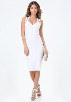 3 Strap Midi Bandage Dress - Midi Dresses   bebe