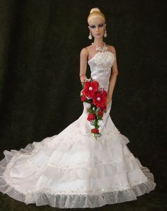 Hand beaded satin gown with organza ruffles: Doll & wig by JAMIEshow, Gown, Jewelry, & Floral Bouquet by Ina Murphey, Photography by Ina Murphey http://stores.ebay.com/Inas-La-Petite-Fashion-Promenade